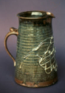 "Stoneware with Slip Trailing, 10"", 1977."