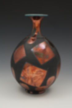 "18) Raku Bottleneck Vase, 12"" tall. This is the back of the piece in the book, 500 Raku."