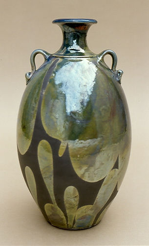 "Raku with poured glaze, 16"", 1978."