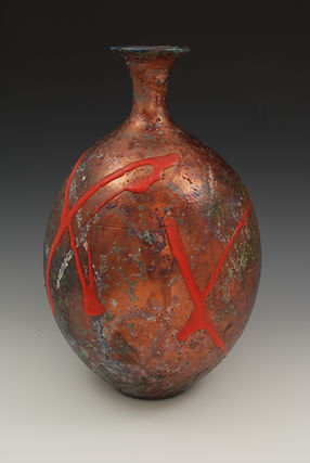 "17) Raku Bottleneck Vase, 9"" tall. 17)"