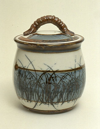 "Porcelain Jar with Sgraffito Decoration, 10"", 1979."