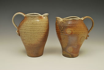 "9) Wood Fired Darted Pitchers, 9"" tall, stoneware."