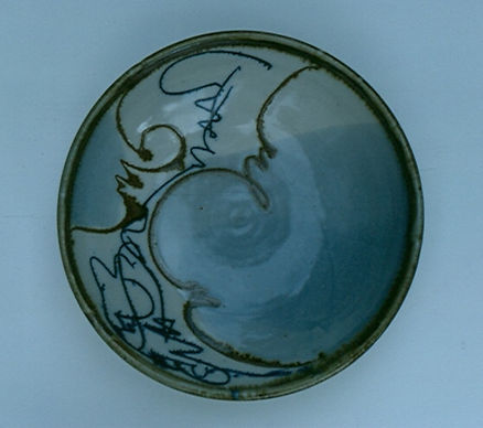 "Stoneware Bowl with White Slip and Sgraffito Decoration, 14"", 1976."
