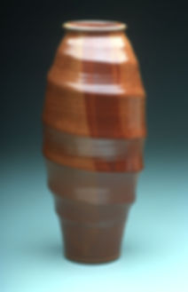 "6) Tornado Vase, 19"" tall, Stoneware with Shino glaze."