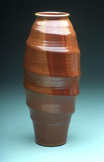"6) Tornado Vase, 19"" tall, Stoneware with Shino glaze."