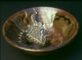 "Stoneware with Slip Trailing, 9"", 1977."