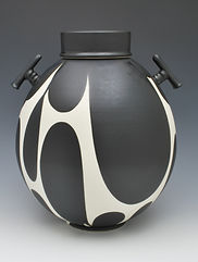 "20)  B/W Lidded Jar with Handles, 12"" tall."