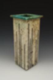 """15) Raku Slab Vase, 12"""" tall."""