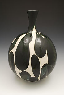 "14) Black, White and Glossy Vase, 18"" tall."