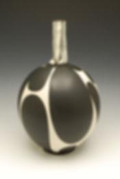 Black and White Vase with Handbuilt Neck