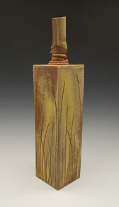 "10) Wood Fired Slab Vase, 16"" tall, stoneware."