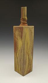 "10) Wood Fired Slab Vase, 16"" tall, stoneware."