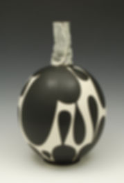 "25) B/W Vase with Handbuilt Neck, 13""tall. It was in the 2014 Zanesville Prize Competition."