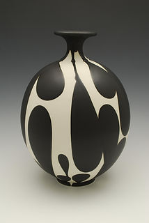 "17) B/W Bottleneck Vase, 14"" tall."