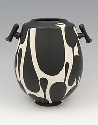 "6) B/W Vase with Handles, 9"" tall."