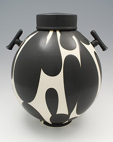 "18) B/W Lidded Jar with Handles, 14"" tall."