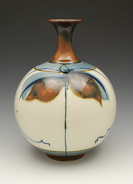 "Brushwork Vase, with overglaze brushwork, 11"" tall."