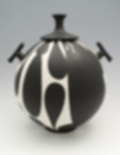 "19) B/W Lidded Jar with Handles, 13"" tall. It was in the 2016 Potters Council NCECA show."