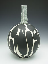 "34) B/W Vase with Handbuilt Neck, 13"" Tall. In the American Museum of Ceramic Art Collection."