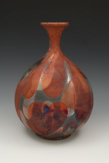 "12) Raku Bottleneck Vase, 12"" tall."