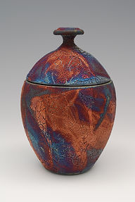 "16) Raku Jar, 9"" tall. This piece is in the book, 500 Raku."