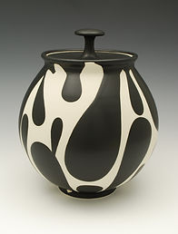 "15) B/W Lidded Jar, 10"" tall."