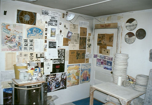 Wall of clippings.