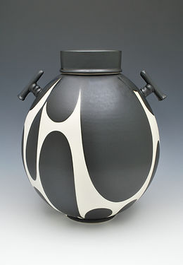 Sam Scott, Black and White Jar with Handles