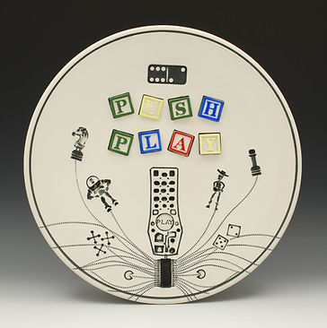 "Push Play, 12"" dia. This piece is in the Virginia Mason Medical Center permanent Art Collection in Seattle."