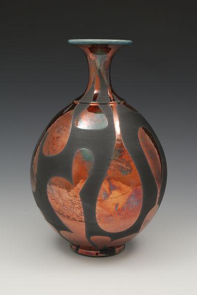"""18) Raku Bottleneck Vase, 12"""" tall. This piece is in the book, 500 Raku."""