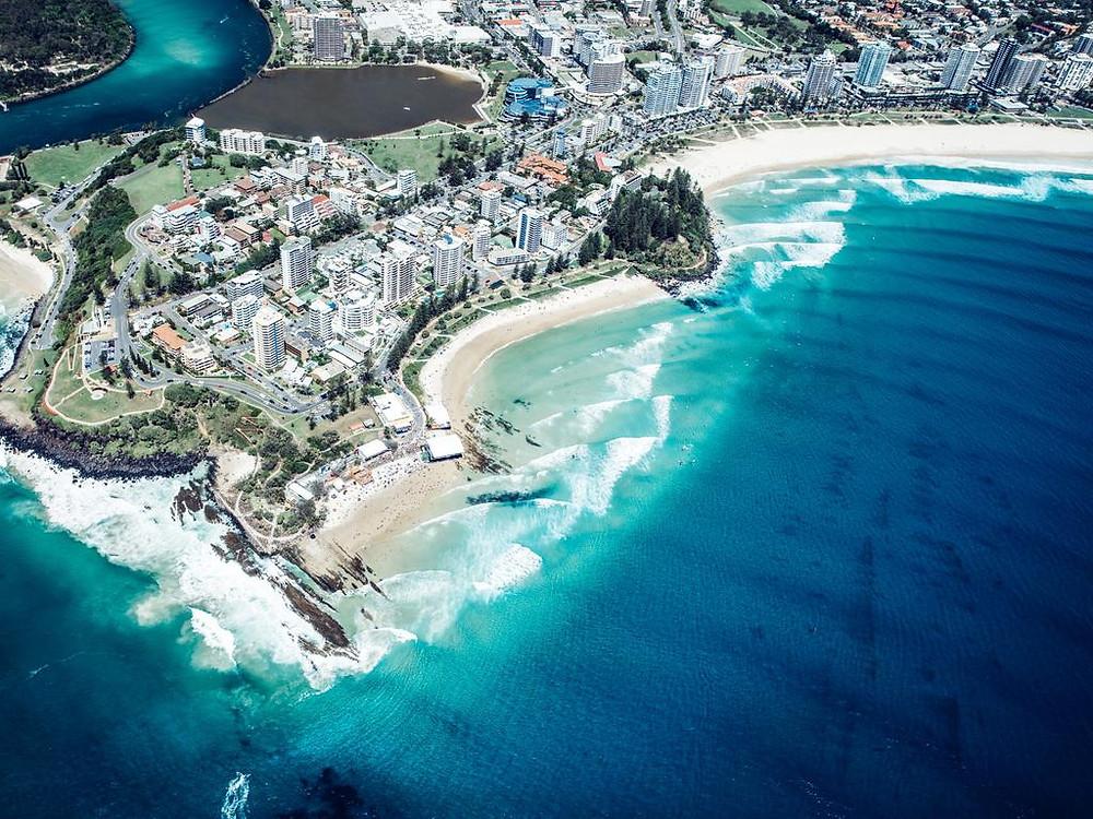 An aerial view of Coolangatta. Picture: Destination Gold Coast