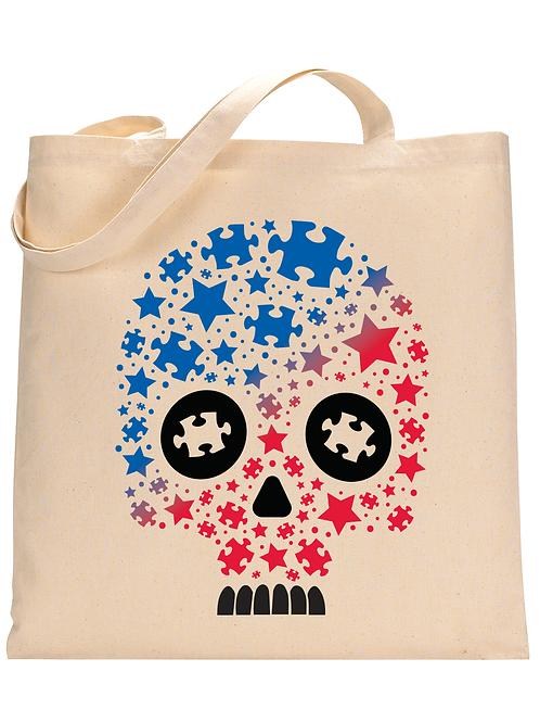 Patriotic Puzzle Skull Tote Bag