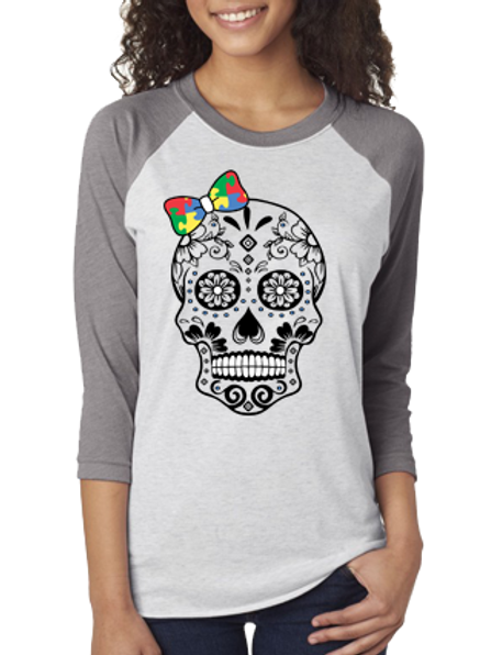 Primary Colors Bow Skull Unisex Jersey