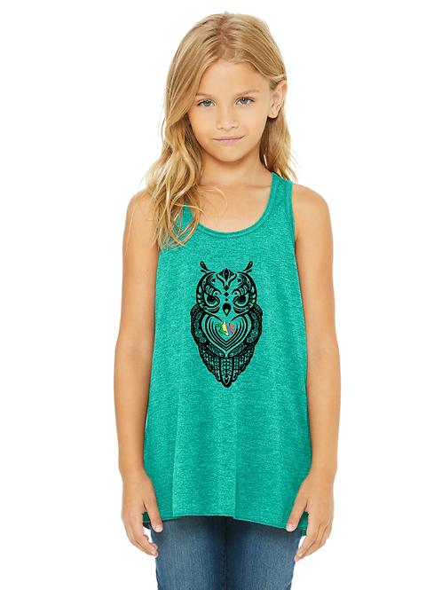 Owl Autism Awareness Girls Tank