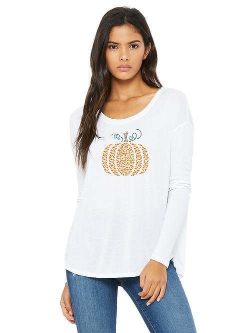 Pumpkin Autism Awareness Ladies Long Sleeve