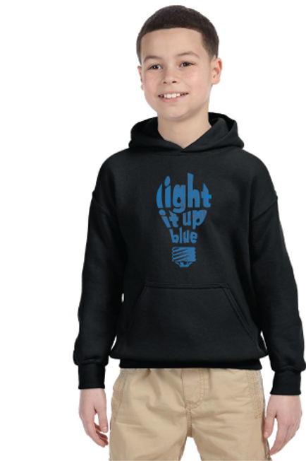 Light It Up Blue Bulb Youth Hoodie