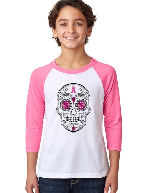 Breast Cancer Skull Youth 3/4 Raglan