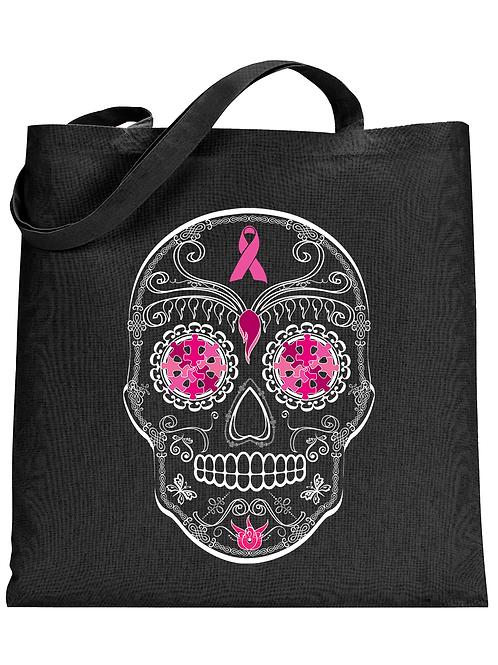 Breast Cancer Skull Tote Bag