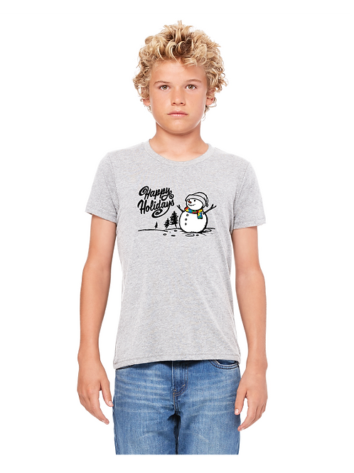Youth Tee Snowman Holiday Autism