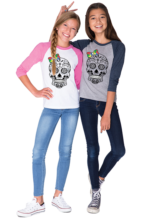 Primary Colors Bow Skull Youth Unisex Jersey