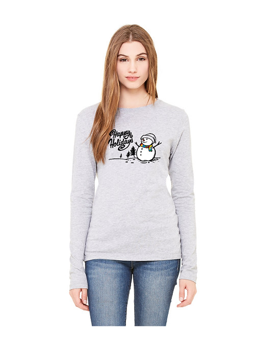 Ladies Long Sleeve Snowman Holiday Autism