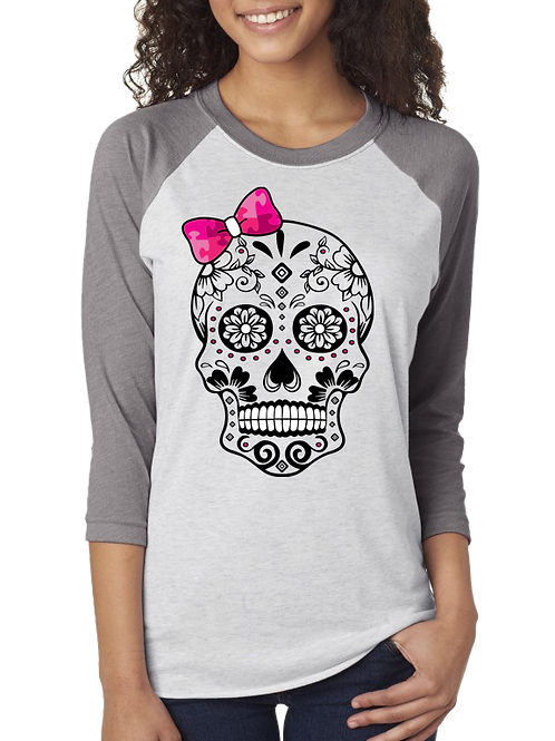 Womans 3/4 Sleeve Pink Bow Skull Jersey