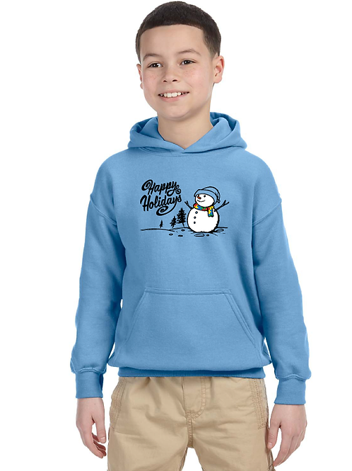 Youth Hoodie Snowman Holiday Autism