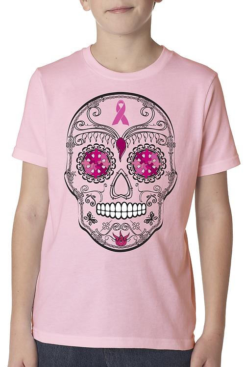 Sugar Skull Breast Cancer Unisex Youth Tee