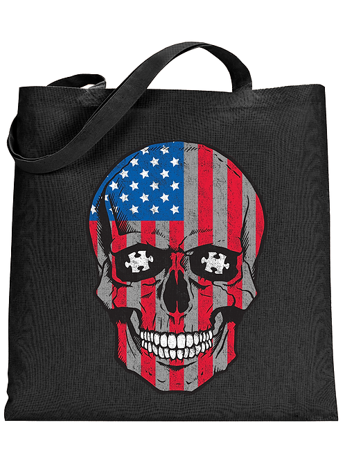Patriotic Skull Tote Bag
