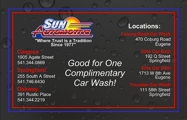 Complimentary Car Wash Coupon Oakway Sun Automotive