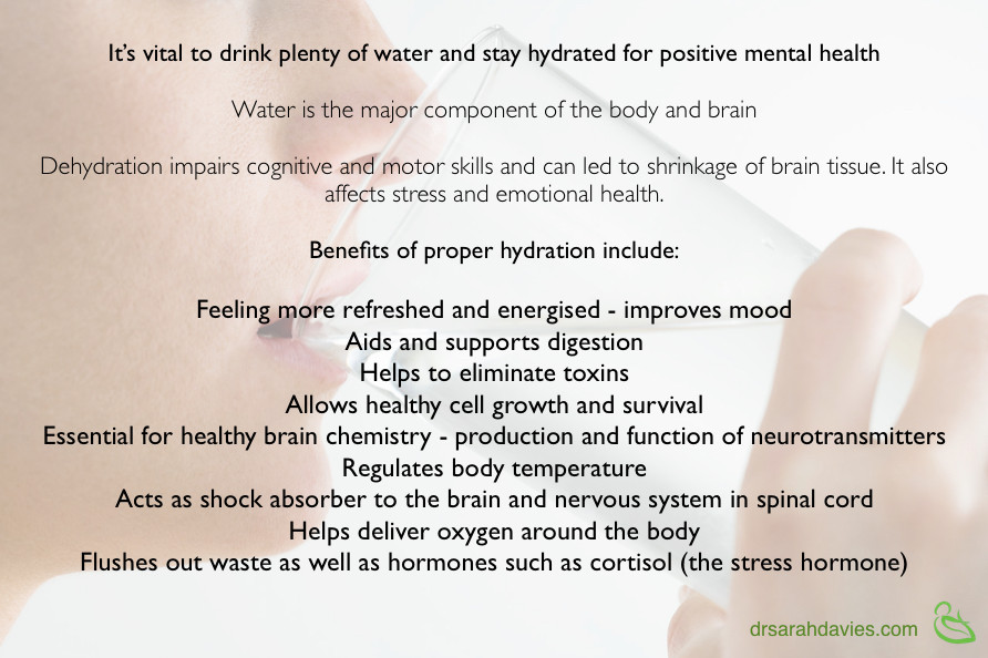 Benefits of drinking water for mental health