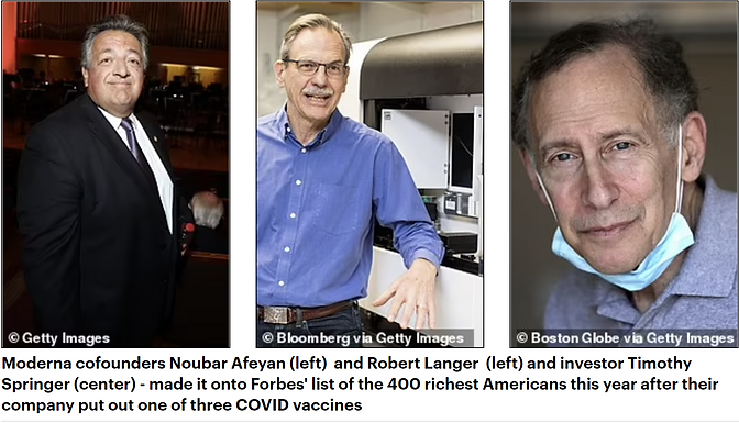 Moderna's founders make their debut on the Forbes top 400 richest people in America list after cashi