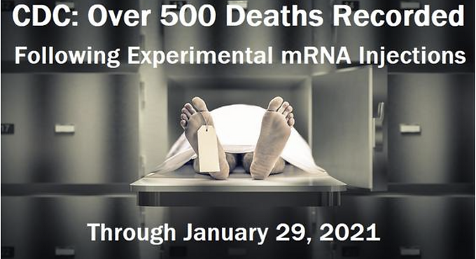 CDC: Over 500 Deaths Now Following MRNA Experimental Injections