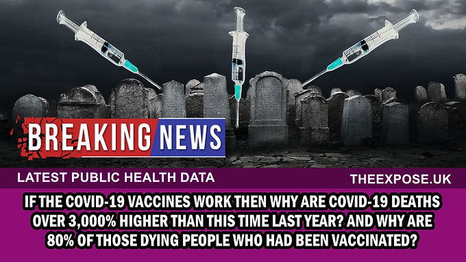 BREAKING – Covid-19 deaths are over 3,000% higher than this time last year and 80% of those dying ha